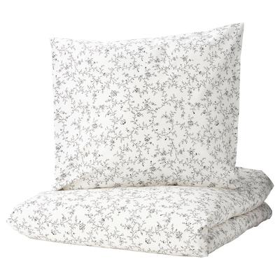 KOPPARRANKA Housse de couette et 2 taies, blanc/gris foncé, 240x220/65x65 cm