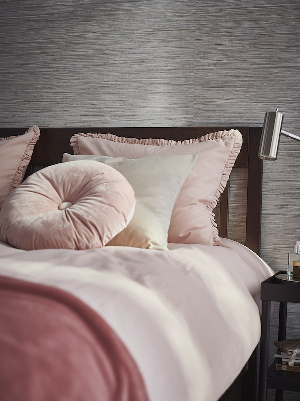 KRANSKRAGE Housse de couette et 2 taies, rose clair, 240x220/65x65 cm