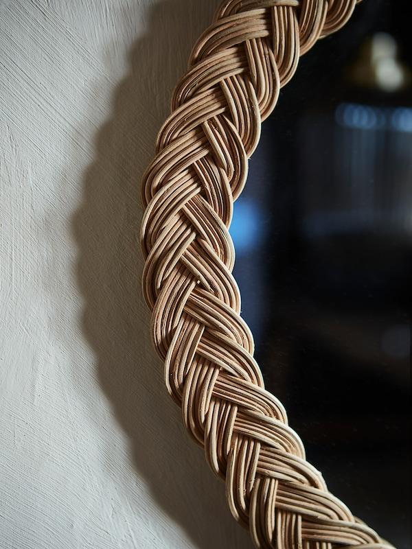 KRISTINELUND Miroir, rotin, 61x50 cm