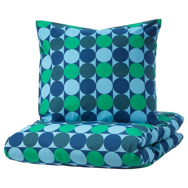 KROKUSLILJA housse de couette et 2 taies bleu/vert 152 pouce carré  2 pièces 220 cm 240 cm 65 cm 65 cm