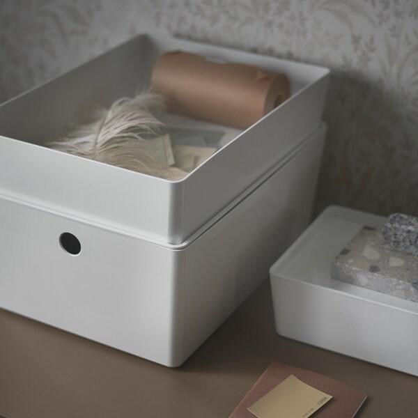 KUGGIS Boîte avec couvercle, blanc, 26x35x8 cm