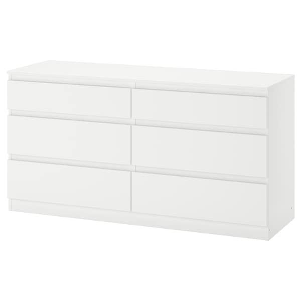 KULLEN Commode 6 tiroirs, blanc, 140x72 cm
