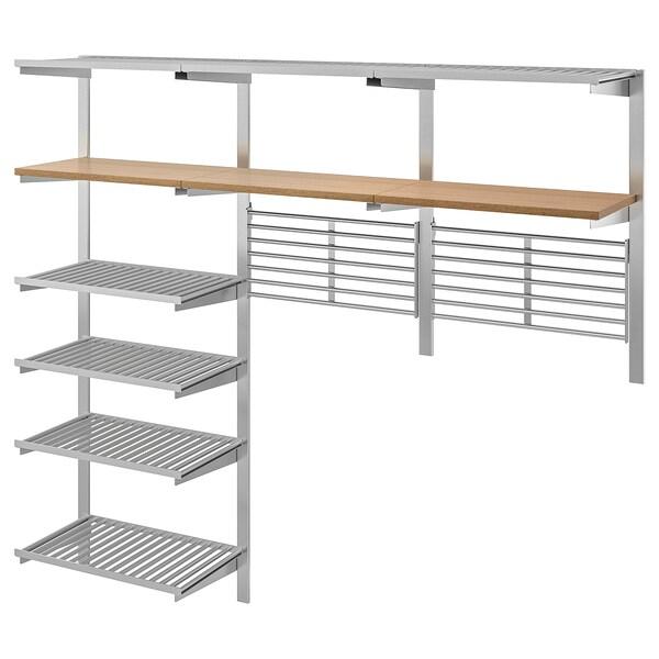 KUNGSFORS rail de suspens av étag/grilles mur acier inoxydable/frêne