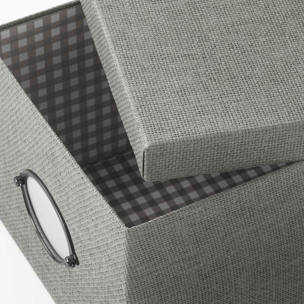 KVARNVIK Boîte de rangement avec couvercle, gris, 25x35x20 cm