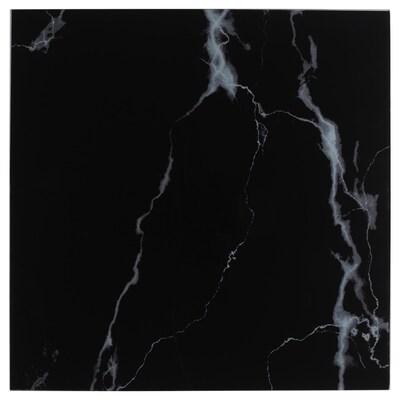 LACK Plateau en verre, marbré/noir, 55x55 cm