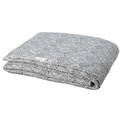 LÅGBJÖRK Couette, légère, gris foncé/blanc, 240x220 cm