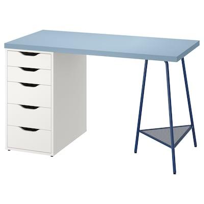 LAGKAPTEN / ALEX Bureau, bleu/blanc, 120x60 cm