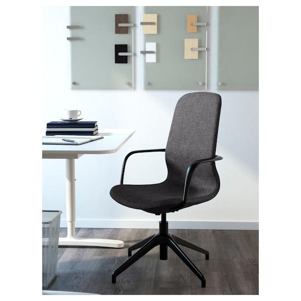 LÅNGFJÄLL Chaise conférence av accoudoirs, Gunnared gris foncé/noir