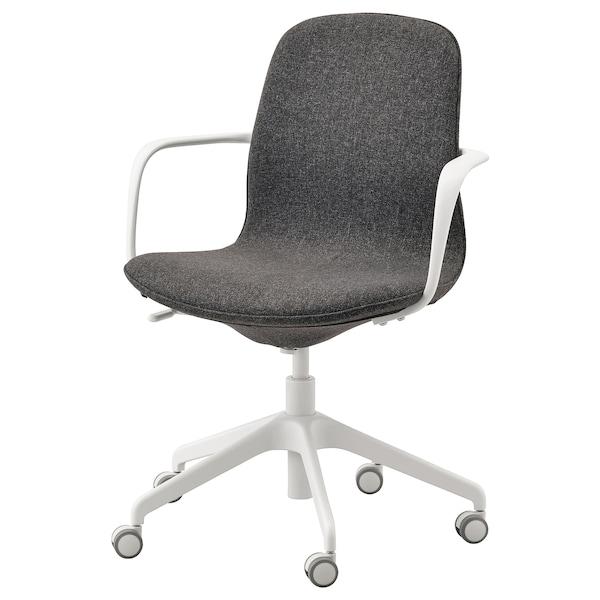 LÅNGFJÄLL Chaise de bureau av accoudoirs, Gunnared gris foncé/blanc