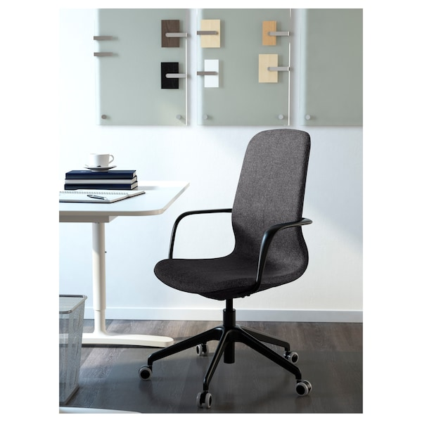 LÅNGFJÄLL Chaise de bureau av accoudoirs, Gunnared gris foncé/noir