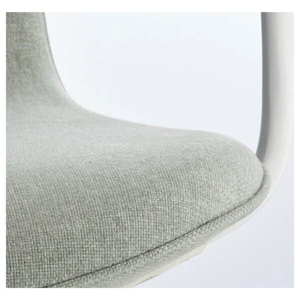 LÅNGFJÄLL Chaise de bureau av accoudoirs, Gunnared vert clair/blanc