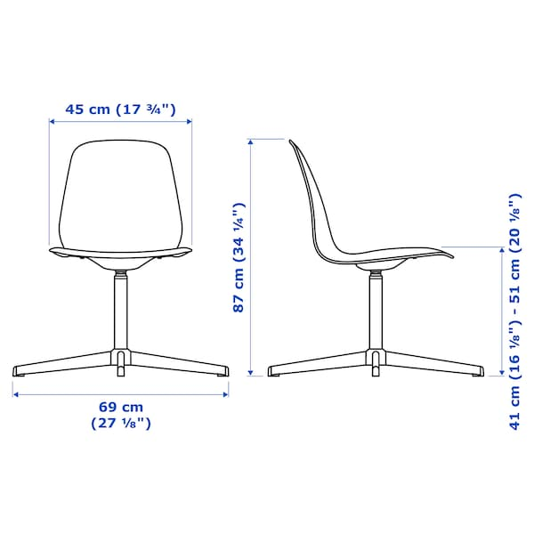 LEIFARNE Chaise pivotante, blanc/Balsberget blanc