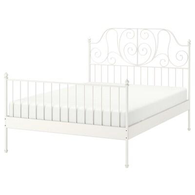 LEIRVIK Cadre de lit, blanc/Lönset, 140x200 cm