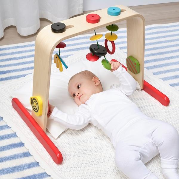 LEKA Portique bébé, bouleau/multicolore