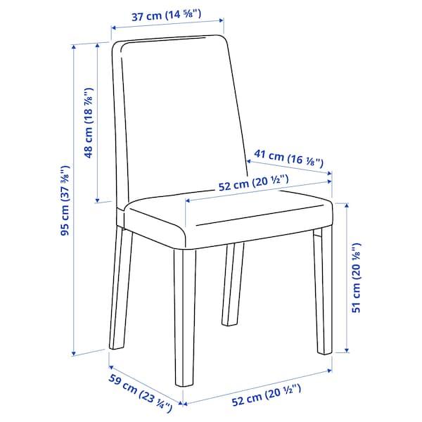 LERHAMN / BERGMUND Table et 4 chaises, brun noir/Inseros blanc/noir, 118x74 cm