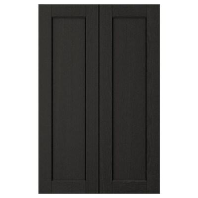 LERHYTTAN Porte élément bas d'angle, 2pcs, teinté noir, 25x80 cm