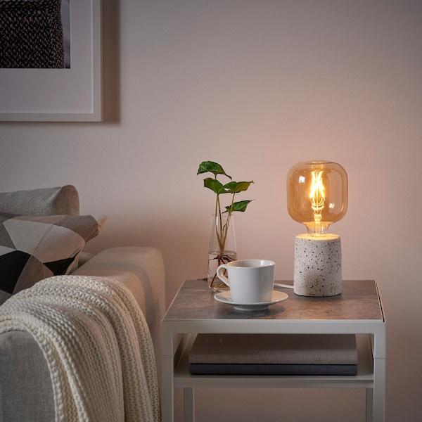 LERSKIFFER Lampe de table, effet granito/blanc, 11 cm