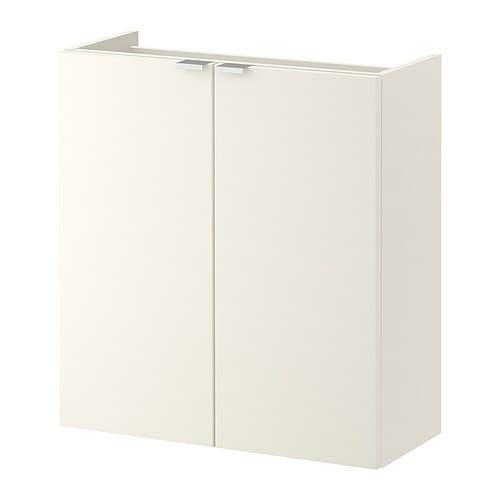 Lill ngen l ment lavabo 2 portes blanc 60x25x64 cm for Armadi poco profondi