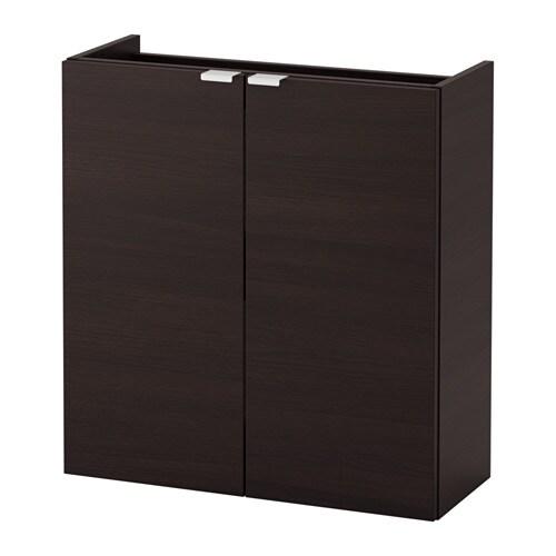 lill ngen l ment lavabo 2 portes brun noir 60x25x64 cm ikea. Black Bedroom Furniture Sets. Home Design Ideas