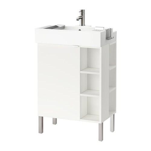 Lill ngen l ment lavabo 1porte 2 lts fin acier for Element lavabo salle bain