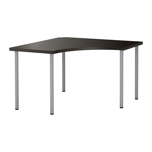 linnmon adils table d 39 angle brun noir couleur argent ikea. Black Bedroom Furniture Sets. Home Design Ideas
