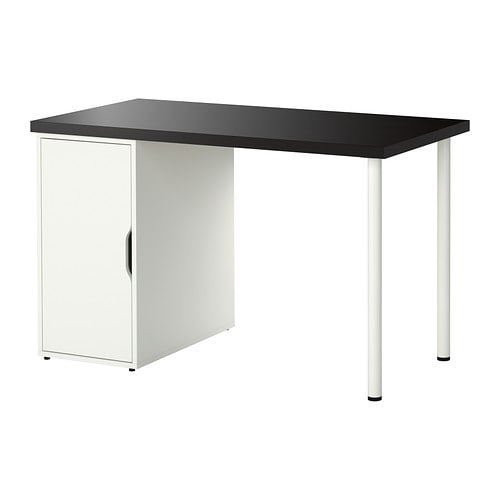 Linnmon alex table brun noir blanc ikea for Bureau noir et blanc ikea