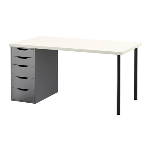 Linnmon Alex Table Blanc Gris Ikea