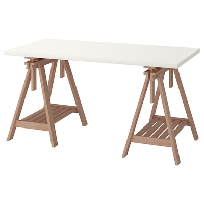 LINNMON / FINNVARD Table, blanc/hêtre, 150x75 cm