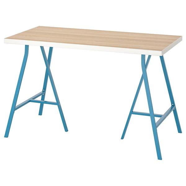 LINNMON / LERBERG Table, blanc effet chêne blanchi/bleu, 120x60 cm