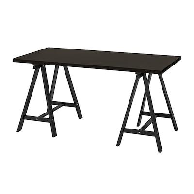 LINNMON / ODDVALD Table, brun noir/noir, 150x75 cm