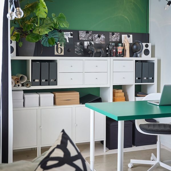 LINNMON / OLOV Table, vert/blanc, 150x75 cm