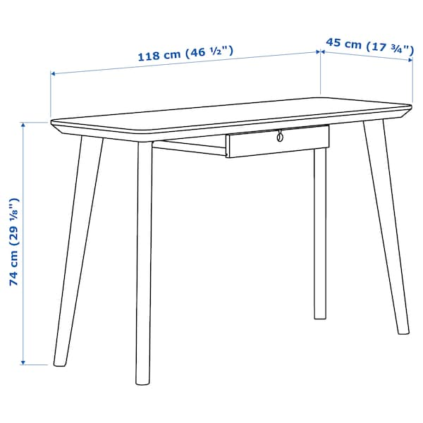 LISABO Bureau, plaqué frêne, 118x45 cm