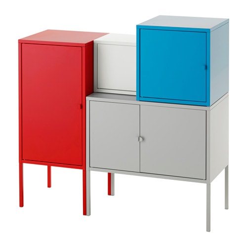 lixhult combinaison de rangement gris blanc bleu rouge ikea. Black Bedroom Furniture Sets. Home Design Ideas