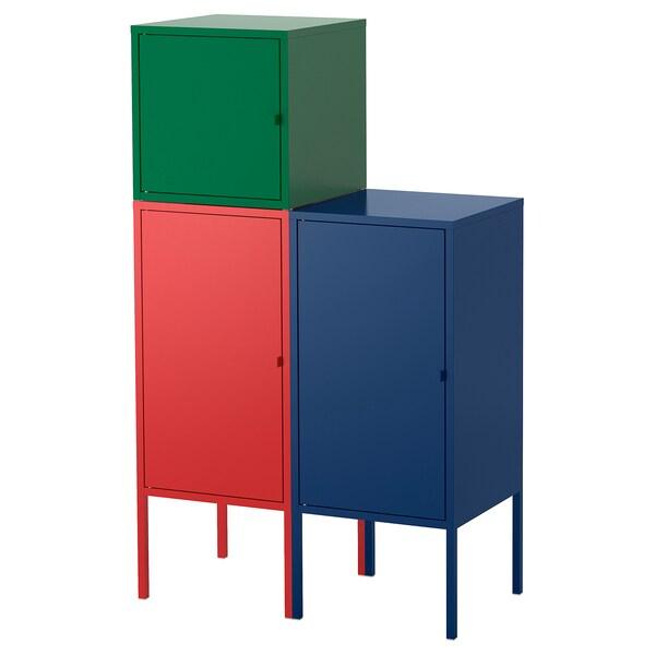 LIXHULT combinaison de rangement rouge bleu foncé/vert foncé 95 cm 117 cm 70 cm 35 cm 21 cm 12 kg