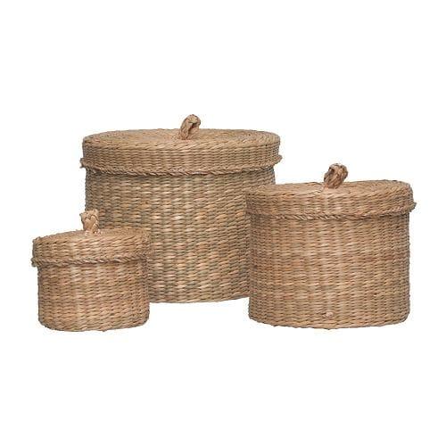 LJUSNAN Boîte avec couvercle, 3 pièces, jonc de mer