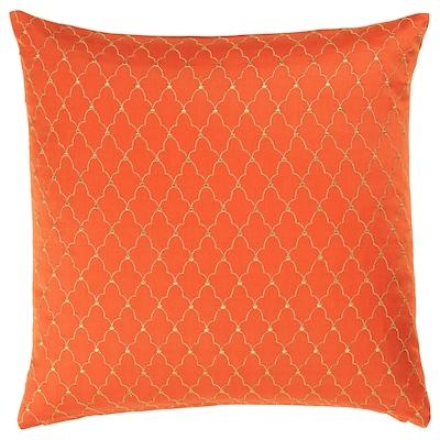 LJUVARE Housse de coussin, broderie orange, 50x50 cm