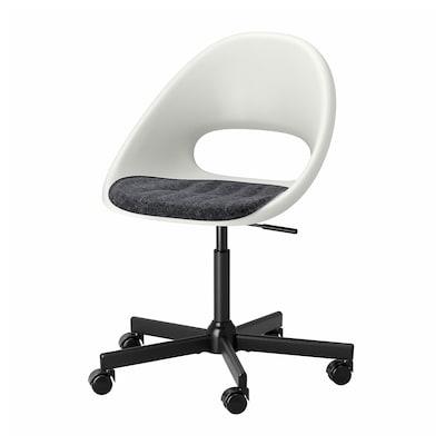 LOBERGET / MALSKÄR Chaise pivotante avec coussin, blanc noir/gris foncé