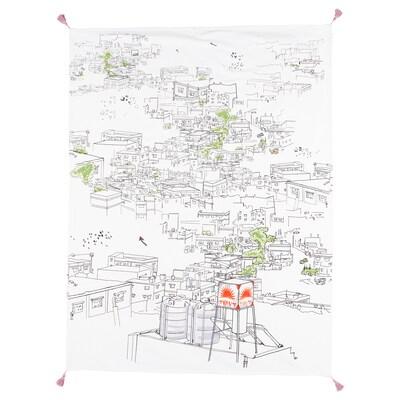 LOKALT Plaid, blanc multicolore/fait main, 120x160 cm