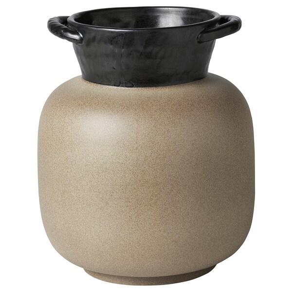 LOKALT Vase, beige noir/fait main, 21 cm