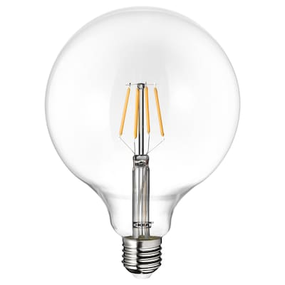 LUNNOM Ampoule LED E27 600 lumen, globe verre transparent, 125 mm