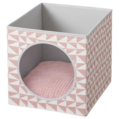 LURVIG Maison pour chat av coussin, rose/rose, 33x38x33 cm