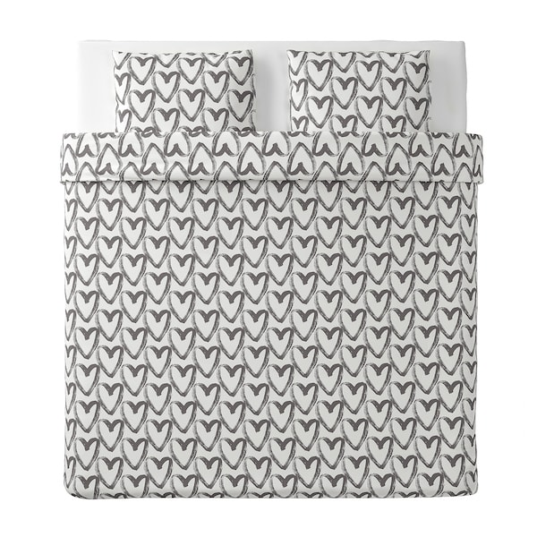 LYKTFIBBLA Housse de couette et 2 taies, blanc/gris, 240x220/65x65 cm