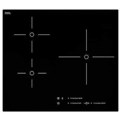 MÄSTERLIG Table cuisson induction/booster, noir, 59 cm
