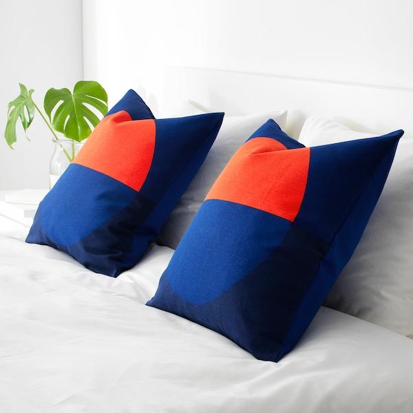 MAJALOTTA housse de coussin bleu/orange vif 50 cm 50 cm