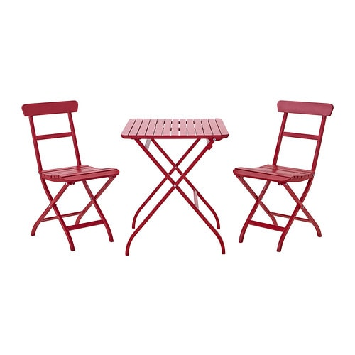 M lar table 2 chaises ext rieur rouge ikea for Table chaise exterieur