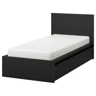 MALM Cadre de lit, haut, 2 rangements, brun noir/Lönset, 90x200 cm