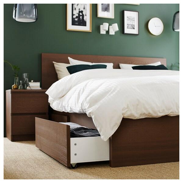 MALM Cadre de lit, haut, 2 rangements, teinté brun plaqué frêne, 140x200 cm