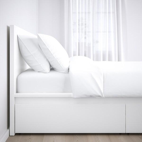 MALM Cadre lit, haut+4rgt, blanc/Leirsund, 160x200 cm