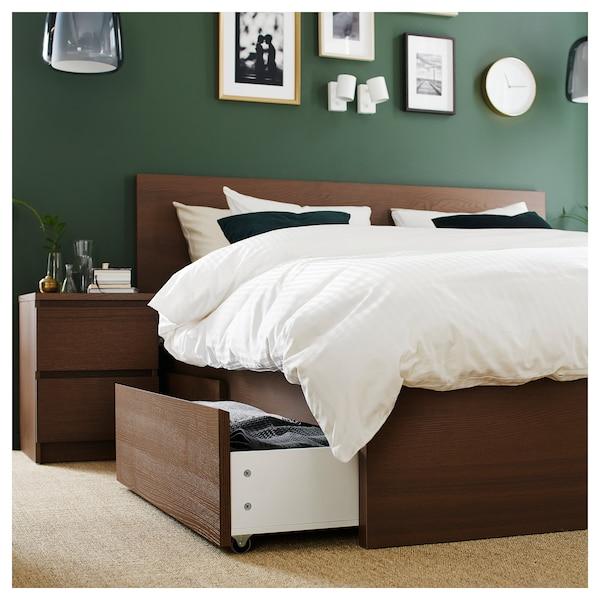 MALM Cadre lit, haut+4rgt, teinté brun plaqué frêne/Lönset, 160x200 cm