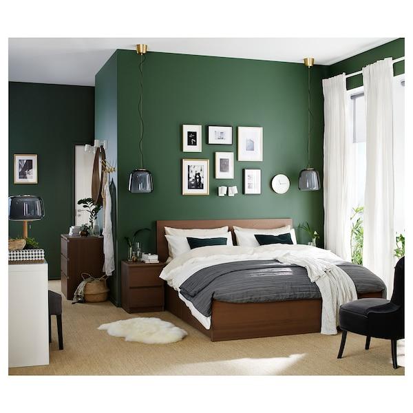 MALM Cadre lit, haut+4rgt, teinté brun plaqué frêne/Luröy, 160x200 cm